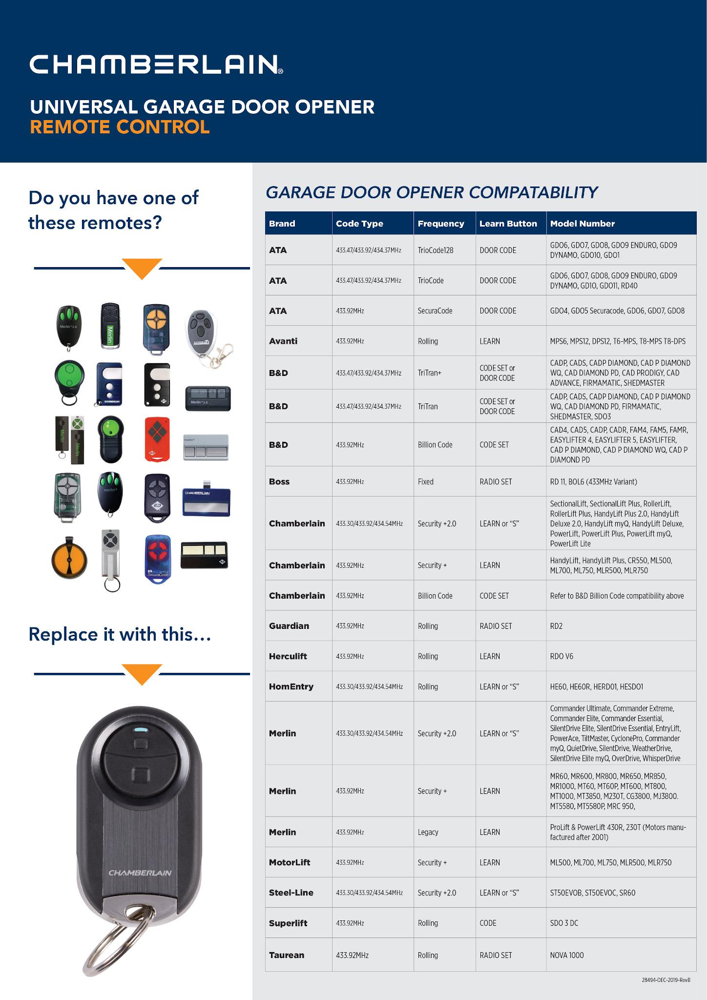 Chamberlain Universal Garage Door Opener Remote Control