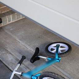 bicycle under the garage door